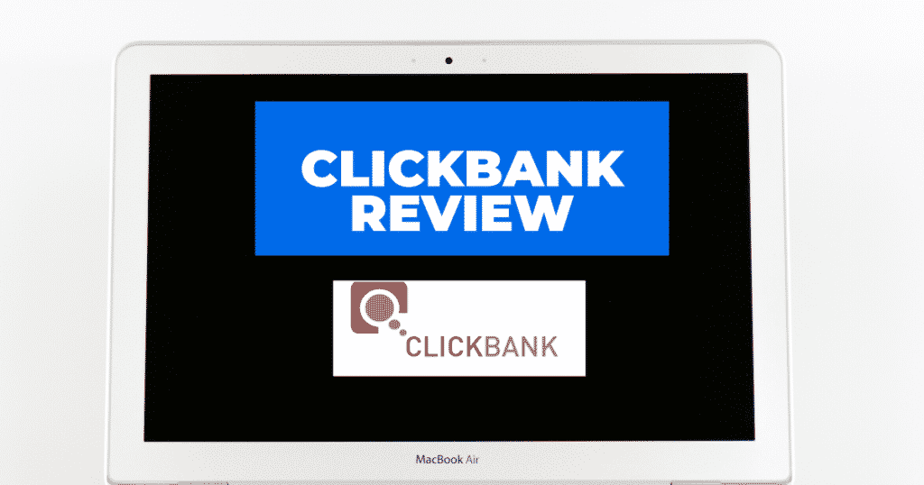 A Macbook Ipad with a ClickBank Logo on it's screen