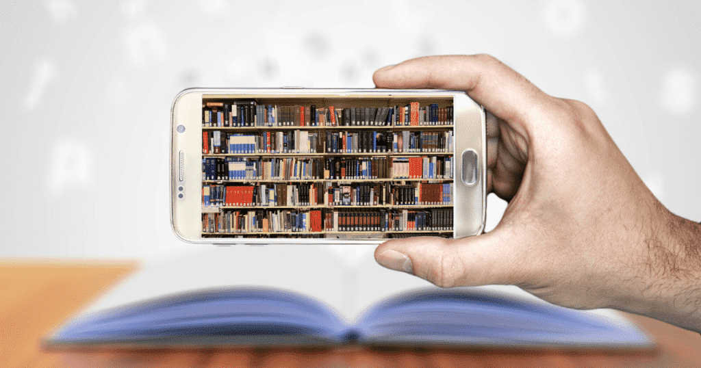 A phone displaying a shelf with books-Thinkific vs Teachable-The best way to sell your online course.