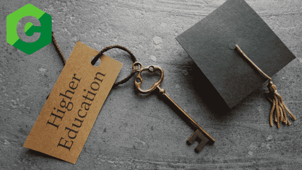 """A key with a tag """"higher education marketing"""" next to a graduation cap-Higher education marketing"""