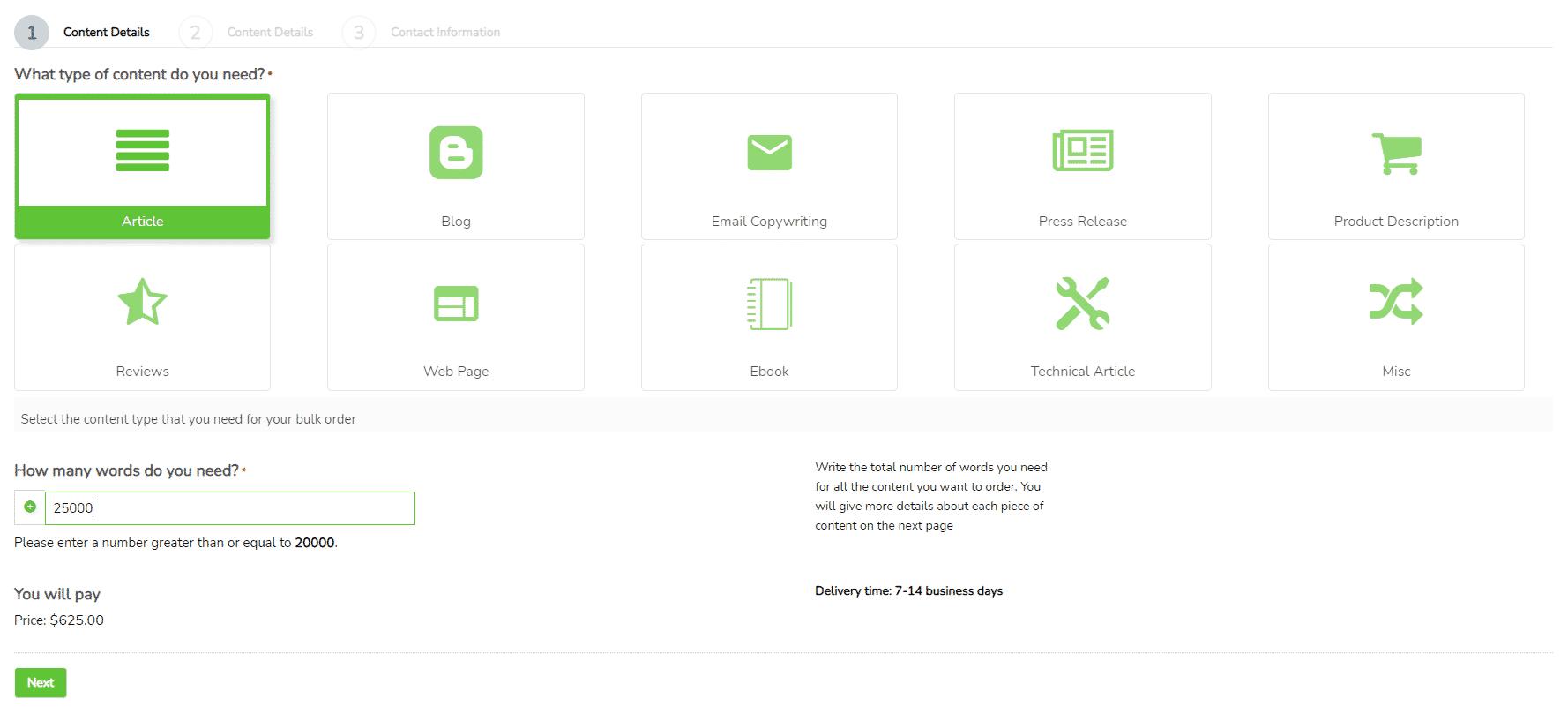 buy articles in bulk screenshot- Order process step 1
