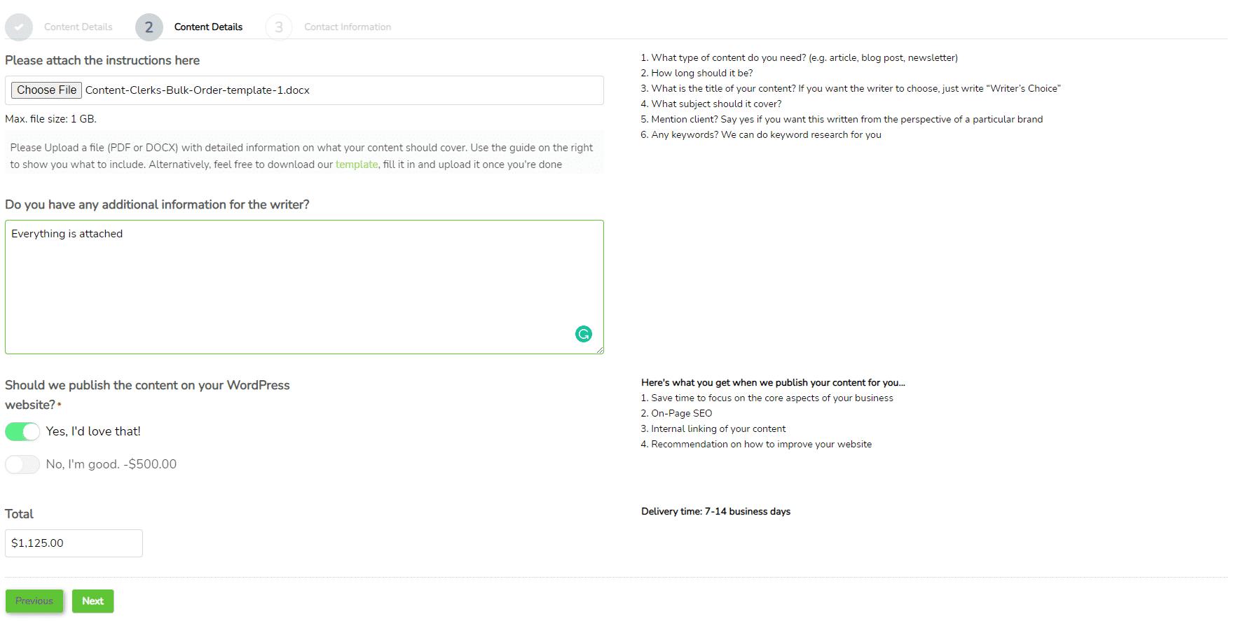 buy articles in bulk screenshot- Order process step 2