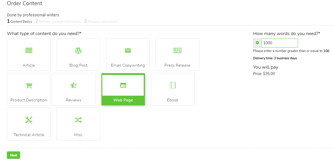 Screenshot of how to order web copywriting services